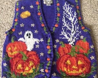 90's Tacky Cute Halloween Cardigan Pumpkin Sweater Vest Medium Ugly HEIRLOOM COLLECTIBLES
