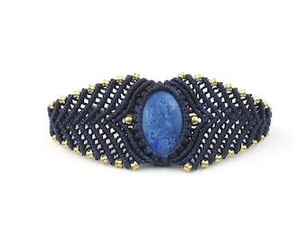 Lapis Macrame Bracelet, Braided, Lapis Lazuli, Brass, Woven, EDM, Ethnic, Tribal, Boho, Bohemian, Gypsy, Festival Jewelry, Gemstone