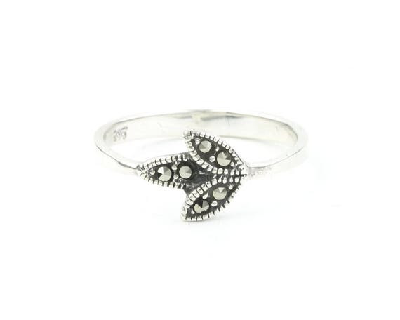Sterling Silver Marcasite Leaf Ring, Flower Ring, Minimalist, Nature, Boho, Bohemian, Gypsy, Festival Jewelry
