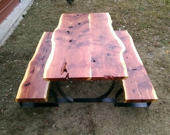 Cedar table with 2 benches
