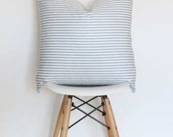"""22"""" Blue and White Striped Pillow Cover"""
