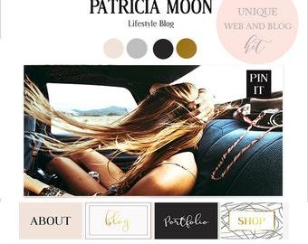 Branding kit-blog kit-blogging kit-premade blog design, incl. logo,webbuttons,sidebar tabs and more