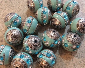 4 pieces Indonesian robins egg blue  clay beads 18-20mm handmade jewelry making supplies bohemian baliwood