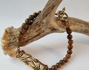Bamboo Jasper Beaded Bracelet, Gemstone Bracelet, Bamboo Bracelet, Jasper Bracelet, Leaf Bracelet
