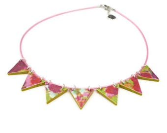Bunting necklace, festival jewellery, geometric jewelry, wood jewellery, summer necklace, bright and colourful jewelry, triangle necklace