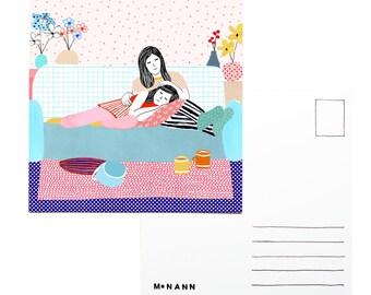 Illustration postcard - Sleepy mornings