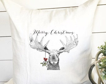 Merry Christmas Moose with Mistletoe Pillow Cover, Christmas Moose, Christmas Gift, Rustic Christmas, Gift
