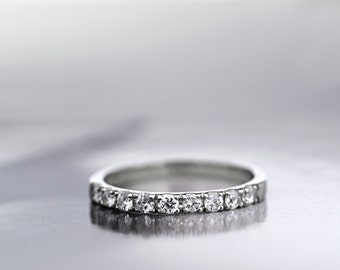 Platinum 950 Diamond Half Eternity Ring, Platinum  2mm Wedding Band