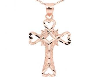 10k Rose Gold Cross Necklace Pendant