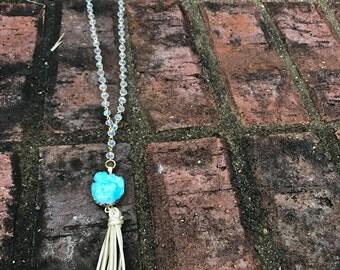 turquoise beaded necklace, handmade, druzy pendant, druzy, druse, turquoise necklace, beaded, missions, chain