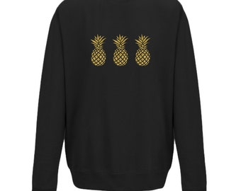 Adults Gold Glittered Pineapples on a Black Jumper / Sweater