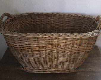 Beautiful basket, wicker and rattan, 50s/60s.