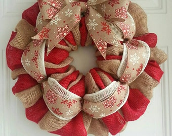 Christmas wreath Winter wreath snowflake wreath red wreath burlap wreath jute wreath rustic wreath