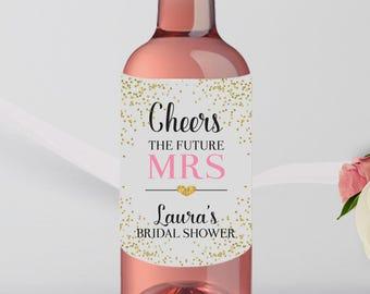 Mini Wine Bottle Labels Bridal Shower -Brunch Favor