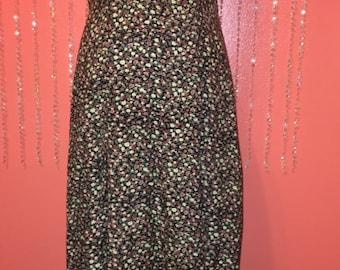 Vintage 90s Paris Sports Club dress/long flowy dress/spaghetti-strap long floral grunge dress