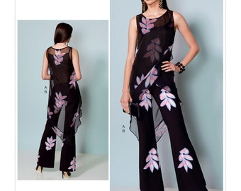 Sewing Pattern Misses' Asymmetrical-Hem Tunic & Flared-Leg Jumpsuit, Vogue Pattern 1539, Spring 2017 Line, Nicola Finetti