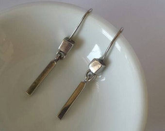 Vintage 90s Genuine Sterling Silver 925 Earrings Elongated Dangling Rectangle Cube Geometric