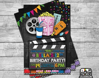 "Come Have A ""REEL"" Good Time! • MOVIE themed BIRTHDAY Invitation"
