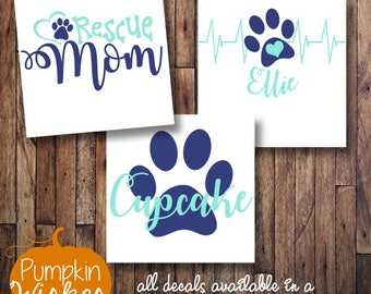 Dog Mom Decal/Fur Mama/Fur Friends Decal/Paw Mom Decal/Rescue Mom/Pet Heartbeat/Paw Print Decal/Yeti Decal