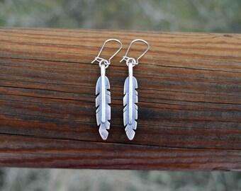 Feather Earrings, Silver Feather Earrings, One of a Kind Feather Earrings, Sterling Silver Feather Earrings, Sterling Silver Earrings