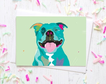 Staffordshire Bull Terrier greeting card / Happy Staffy dog breed blue teal green happy polkadot birthday special bull terrier pink love