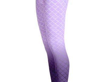 Mermaid Leggings - Mermaid Cotume - Patterned Legging - Christmas Gift - Purple fish scale Leggings - Mermaid costume leggings