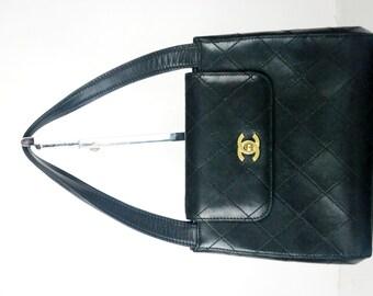 vintage CHANEL quilted top handle front flap CC logo shoulder bag