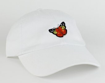 Butterfly Hat - White Embroidered Dad Hat - Polo Hat - Curved Brim Six Panel Fabric Strap Hat - Cute Butterfly Hat - Gucci - Brand New
