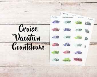 Cruise Vacation Countdown   Planner Stickers