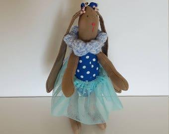 Bunnies Ballerina Easter Present Tilda White Tanned