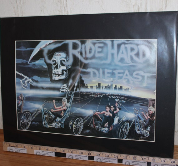 "David Mann ""Ride Hard - Die Fast"" 16'' x 20'' Matted Motorcycle Biker Art #8104ezrxm"