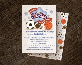 Sports, Baby Shower Invitation for a BOY, All Star Baby Shower Invites, Boy Baby Shower Themes