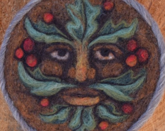 Green Man needle felted green man face Hawthorn