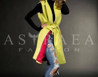 Green Sleeveless Coat, Long Wool Vest Coat, Cashmere Coat, Knee Length Women Vest Coat, Extravagant Jacket, by Astraea-1001