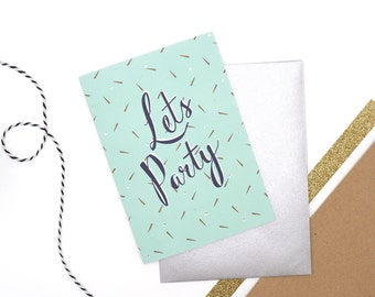 Happy Birthday Card // Let's Party // Birthday Card for Friend // Card with foil // Luxury Foiled Birthday Card // Birthday Card with Badge