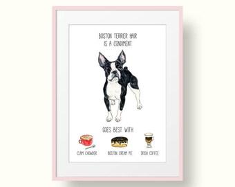 Boston Terrier Art Print - Boston Terrier Gifts - Dog Art Print - Gift for Boston Terrier Lover - Dog Hair Don't Care Art Print