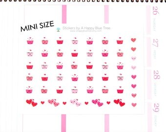 Tiny Happy Cupcake and Hearts Monthly Date Dots Covers Erin Condren Life Planner ECLP A5 ...