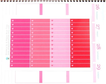Colorful Headers/Thin Labels with a Heart (VALENTINES Colors) Reminder Stickers Erin Condren ...