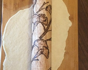 ROLLING PIN, tree branch and flowers,home&living,baking,bake,woodburned, wood burned, hand burned,mothers day gift