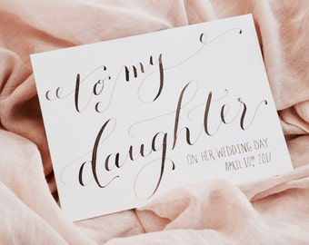 To my daughter on her wedding day card | Card to bride from Mom, Dad, Parents | Mother or father of the bride card | Card from In-laws