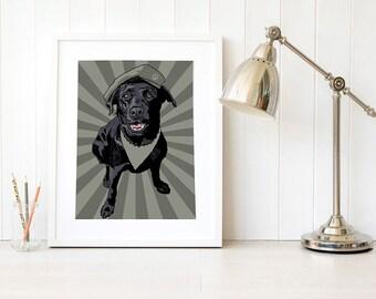 Military dog print, army dogs, army dog decor, police dog wall art, black Labrador art print, black lab wall decor, Service dog art