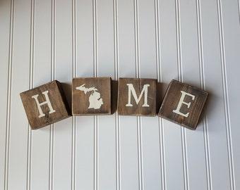 HOME Blocks- Michigan Decor- State Decor- Rustic Decor- Rustic Michigan- Rustic State Decor