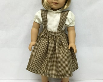 Handmade 18 inch doll clothes - Blouse & Brown Checked Jumper