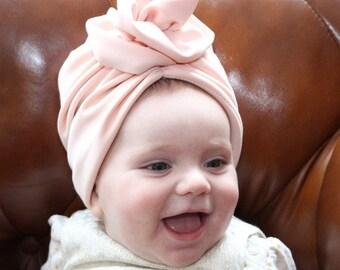 pink Baby head wrap, Newborn turban, Bow turban, turban hat, Baby Headband, full turban hat, turban headwrap, fashion turban, vintage style,