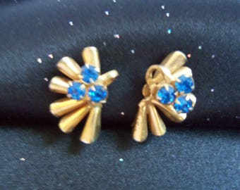 Blue Rhinestones and Gold Screw On Earrings