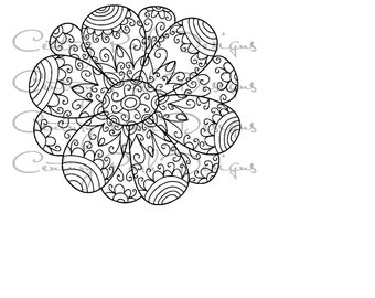 Flower 001 SVG / JPEG / PNG /pdf / use with Silhouette Studio and Cricut Design Space  - Commercial Use - Adult Coloring Page