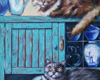 This is our buffet! Oil Painting cats