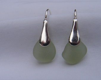 Green Sea Glass Earrings 925 Sterling Silver