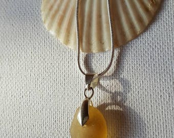 Yellow, Sea glass necklace, seaglass jewelry, Drilled seaglass, Beach glass, Beach finds, Eco jewellery, Gift for her