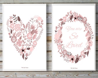 Set of two posters romantic style, Flowers poster pastel colors, Inspirational art, Inspirational quote, Wall art decor, Home nursery decor